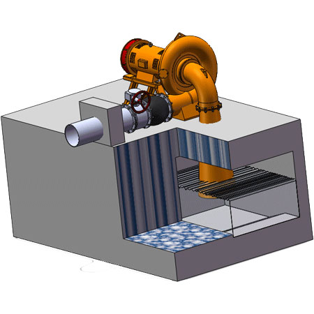 Horizontal type Francis turbine generator installation drawing