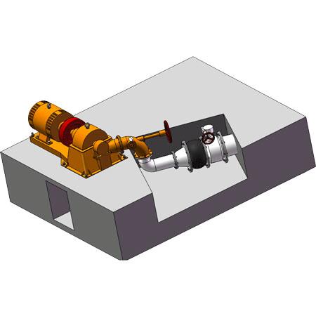 Horizontal type Turgo turbine drawing